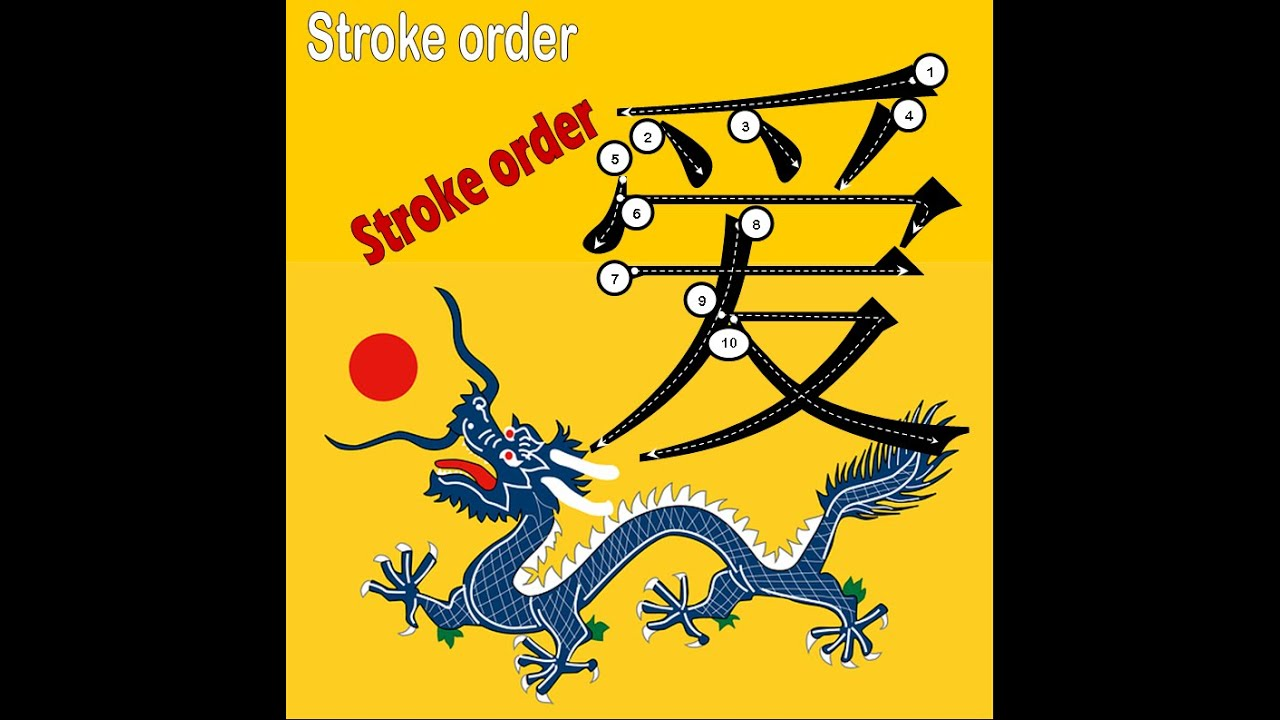 Stroke Order Of A Chinese Character Ai Love Animated