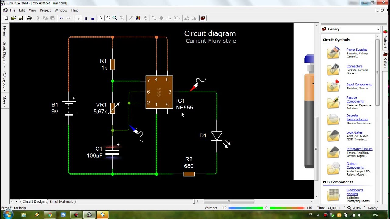 Circuit Wizard Livewire 555 Astable Timer Youtube Oscillator