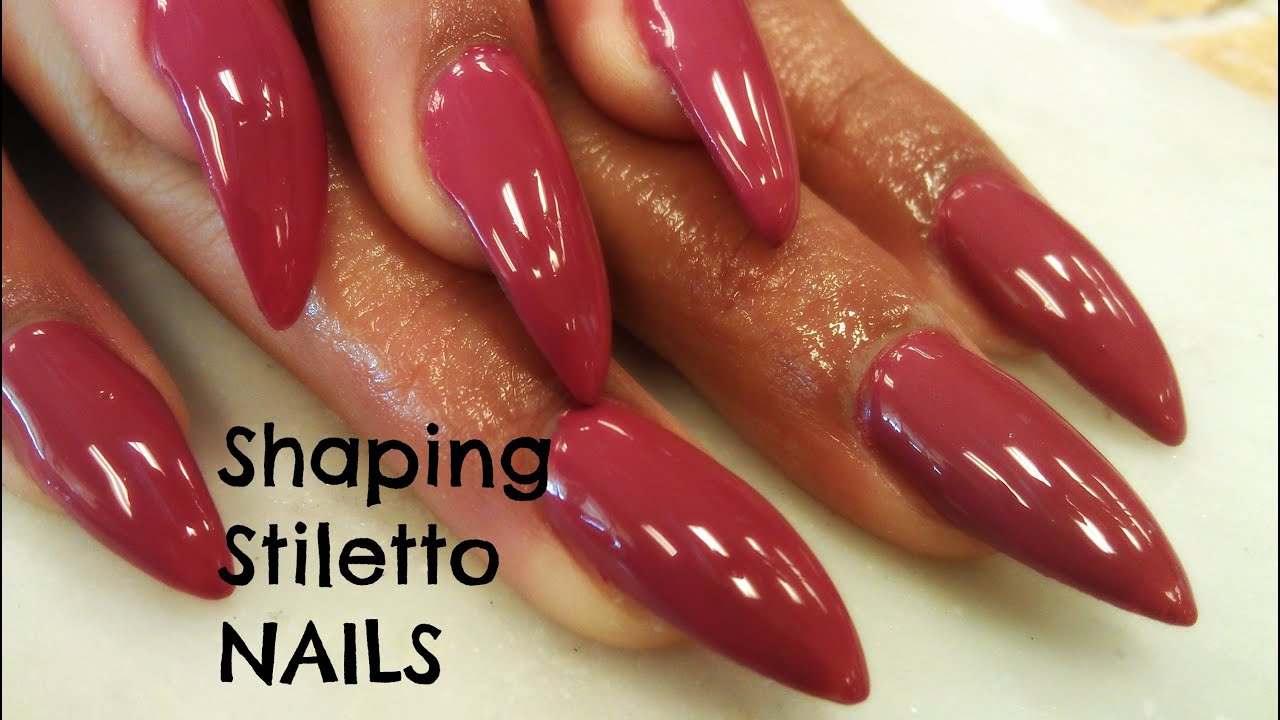 HOW TO SHAPE STILETTO NAILS TUTORIAL - YouTube