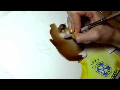 """ทีเะด็ดคลิป"""" Drawing Neymar Júnior""""ไปดูแฟนคลับเนมาร์วาดภาพเหมือนกันครับเหมือนเกิ๊น!นึกว่ารูปถ่าย"""