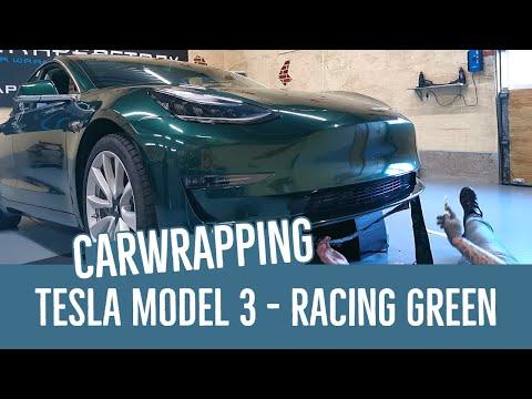 Carwrapping Een Tesla Model 3 In Avery Racing Green