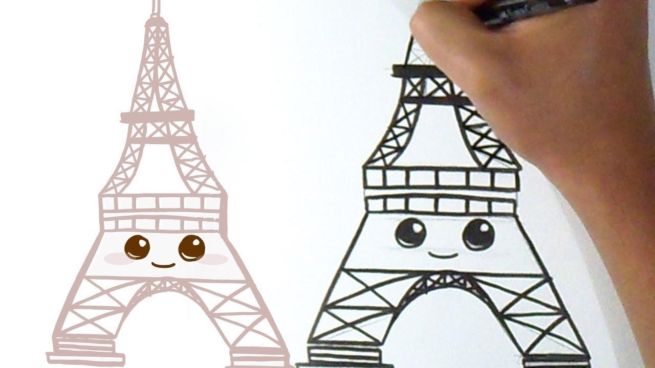 Cómo Dibujar Torre Eiffel Kawaii Youtube