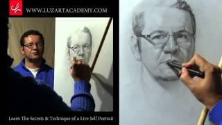 draw a self portrait looking at the mirror time lapse
