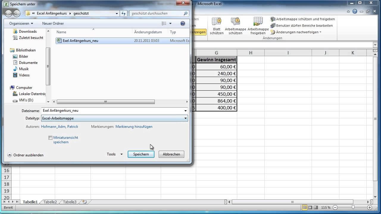 Excel 2010 - Arbeitsmappe schützen - YouTube