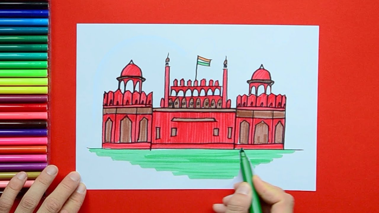 how to draw and color the red fort new delhi youtube