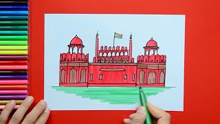 How to draw and color the Red Fort, New Delhi