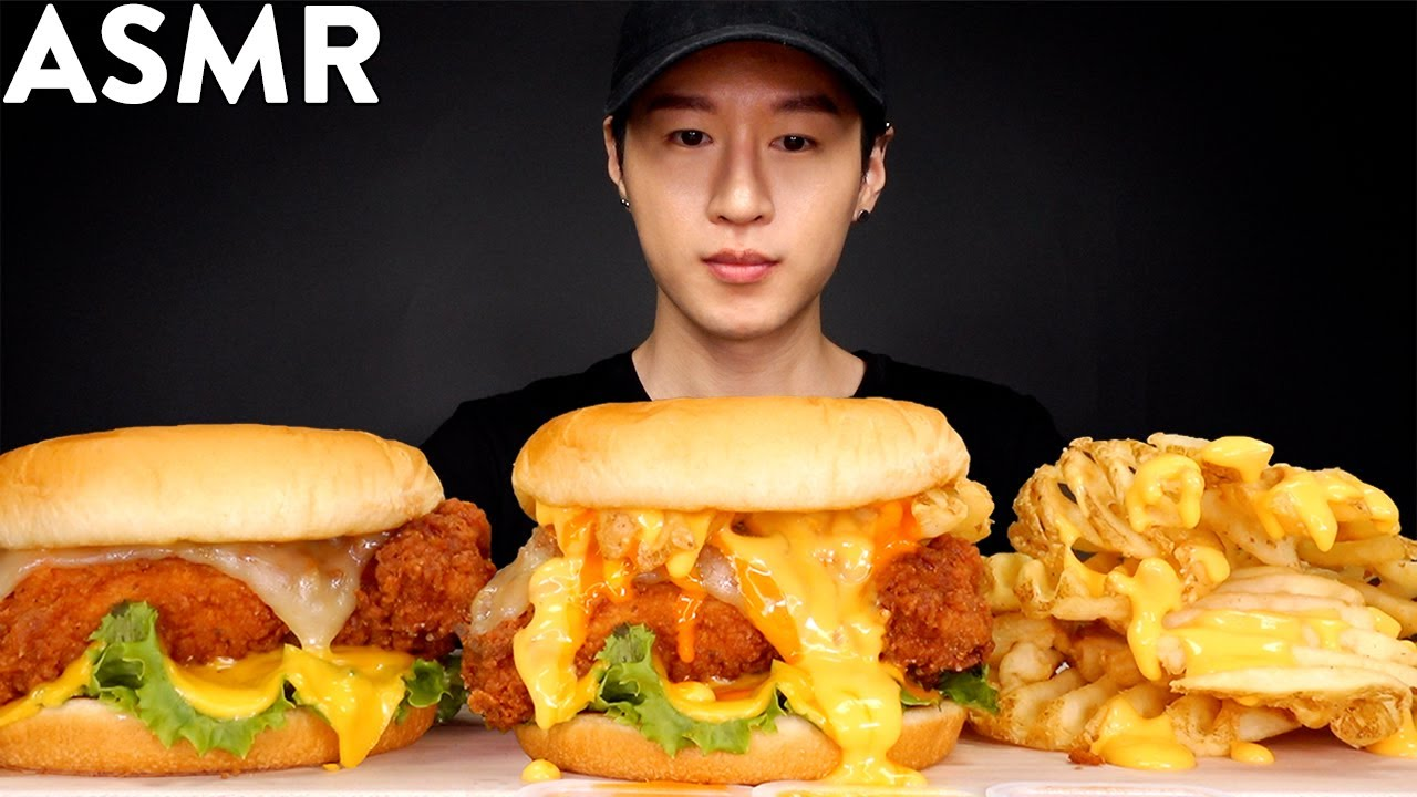 Asmr Cheesy Buffalo Chicken Sandwich Mukbang No Talking Eating Sounds Zach Choi Asmr