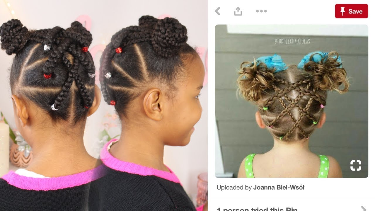 pinterest inspired hairstyle | braided up-do + buns ▸ kids hair