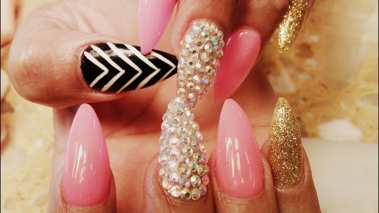 elegant stiletto acrylic nails