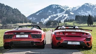 THE ULTIMATE SUPERCAR DROPTOP DUO? - 2018 R8 RWS 1of999  / 2011 R8 ABT GT-S $350K! - In the Alps