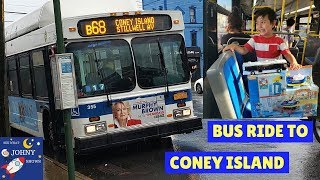 Johny Rides The MTA Bus With his MTA Bus Toy To Coney Island
