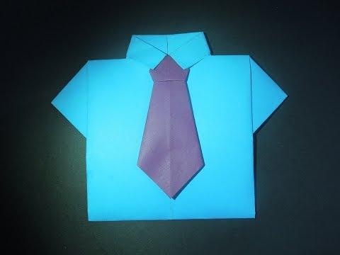 как сделать рубашку с галстуком. Оригами рубашкаиз бумаги