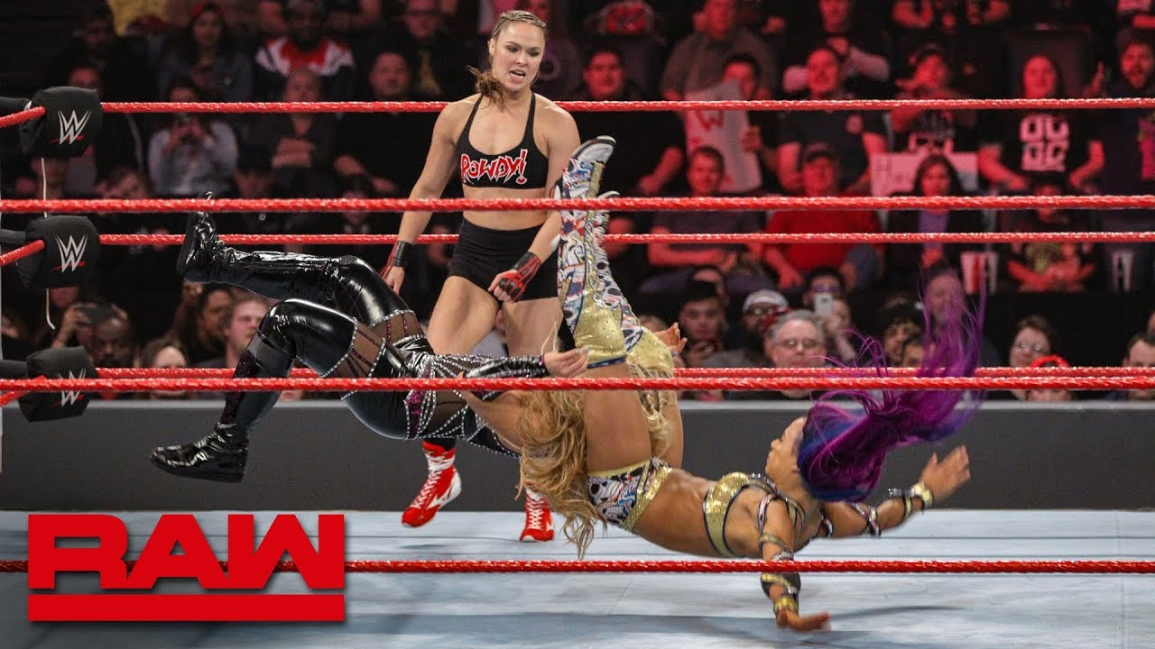 Ronda Rousey & Natalya vs. Sasha Banks & Bayley: Raw, Jan. 21, 2019