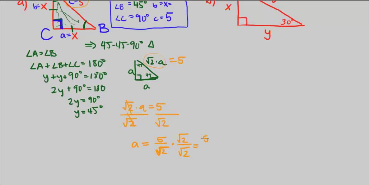 CPM Precalculus 245 Solving special right triangles YouTube – Solving Right Triangles Worksheet
