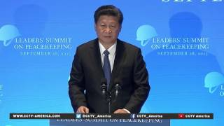 Chinese President XiJinping addresses the UN Peacekeeping summit