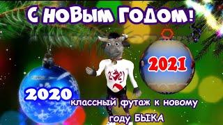 С новым годом 2021 видео футаж анимация аватар БЫКА к новому году БЫКА 2021