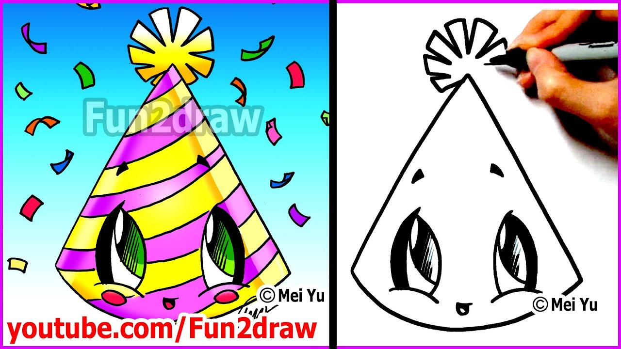 easy things to draw new years party hat mei yus new years resolutions youtube