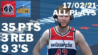 Davis Bertans vs Nuggets: 35 pts, 3 reb, Career-High 9 Threes ALL PLAYS 2020/21 Season [17.02.21.]