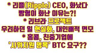 리플(Ripple) CEO, 화났다!! 빵형이 화난이유는?, 리브라 프로젝트 우려하던 일 현실화, 대인배적 면모 및 기타소식들