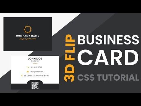 3D Flip Business Card CSS | CSS Cards | CSS Tutorial thumbnail