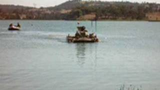 aust army m113 apc in water