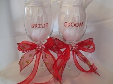 Bride Groom Wine Glass Youtube