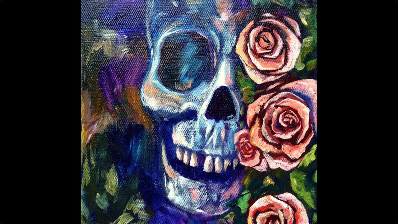 skull and roses acrylic painting on canvas for beginners step by