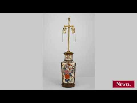 Antique Oriental Chinese Style Porcelain Table Lamp With