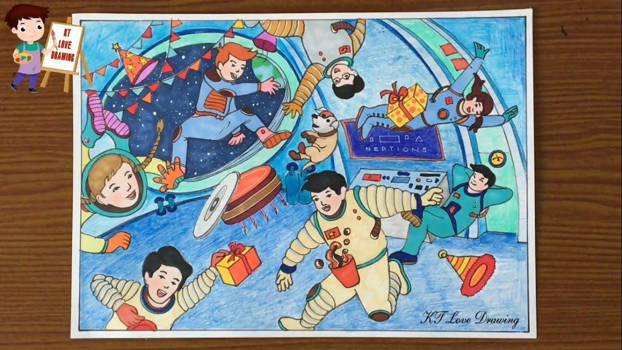 Vẽ tranh ước mơ của em: Phi hành gia | Mừng sinh nhật trên trạm Vũ trụ – Mỹ thuật 8 ktlovedrawing