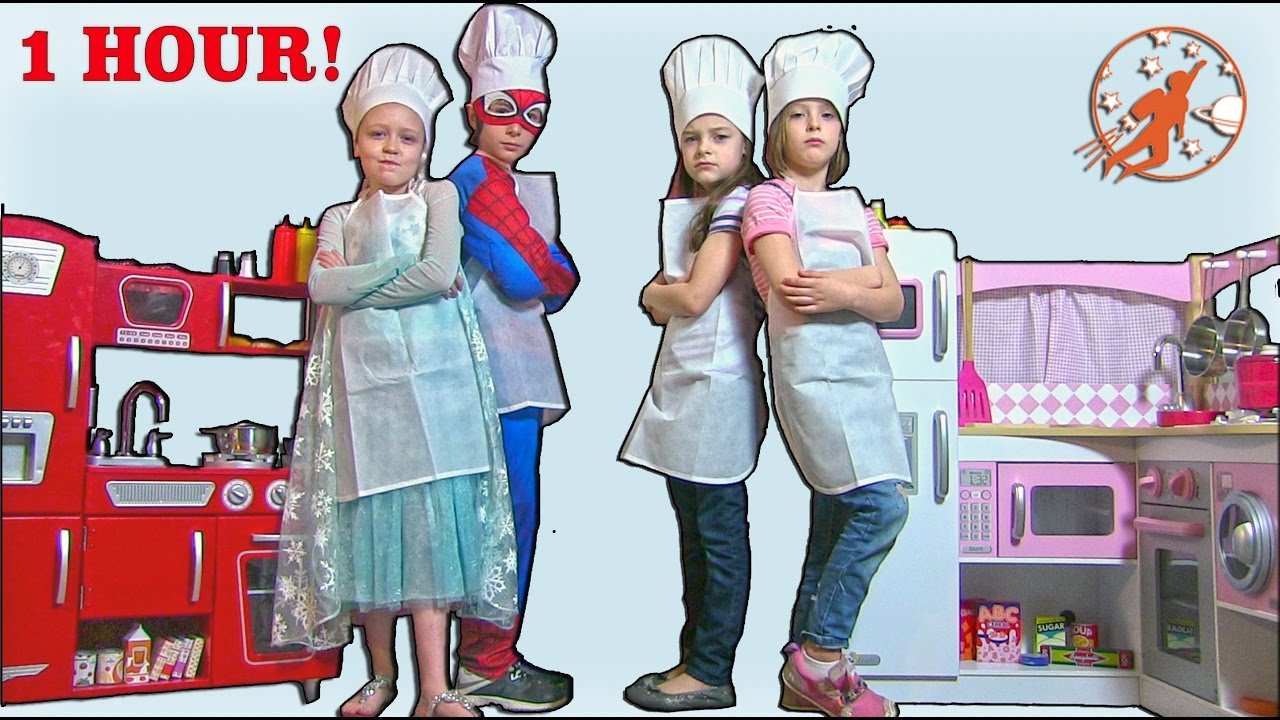 Kids Kitchen Compilation Video - 1 Hour with Twins, Superheroes ...