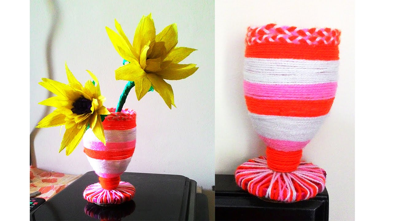Super easy flower vase diy waste bottle pen stand youtube for Art and craft pot decoration
