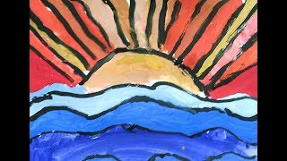 Урок рисования.  Рисуем солнце и море. Общаемся, учимся