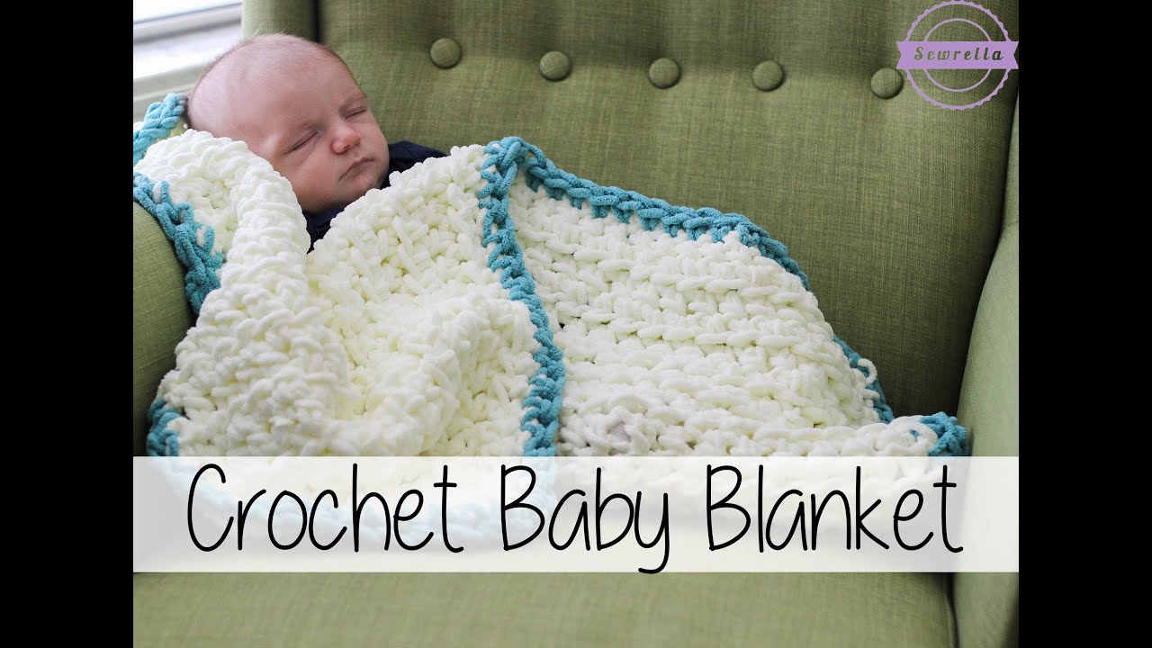 Easy Crochet Baby Blanket Patterns Free For Beginners : Easy Beginner Crochet Baby Blanket Sewrella - YouTube