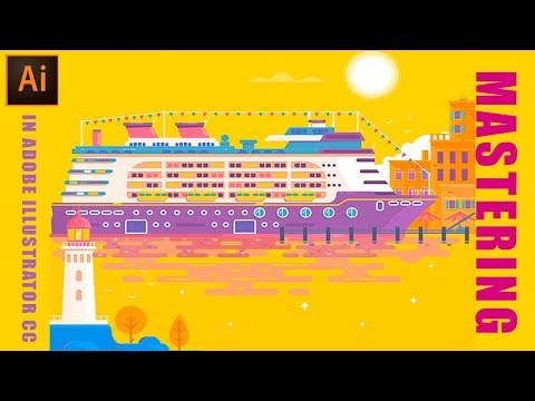 Illustrator Tutorial : Boat and Ocean Flat Design illustration in Adobe illustrator CC #GSFXMentor thumbnail