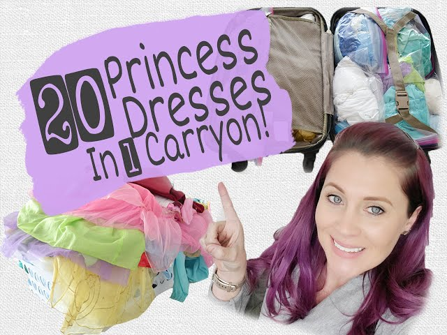HOW TO FIT 20 PRINCESS DRESSES IN 1 CARRYON! | Packing for Disney Family Travels