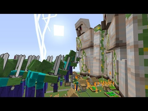 1000 ZOMBIE MUTANT VS 1000 VILLAGER GOLEM MUTANT IN Minecraft MOB BATTLE REALISTIC FOR KIDS