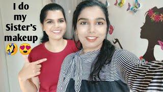 Doing my SISTER'S makeup !! Simple Smokey eye makeup | Fun makeup video with bloopers  |