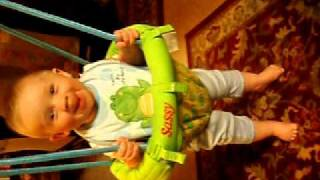 5-mo-old Baby Loving His New Swing--helping Stand & Jump.mov