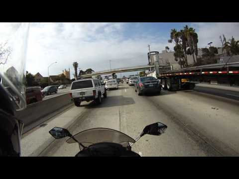 from LAX to Pasadena, 105 E to 110 N, lane splitting evening rush hour traffic