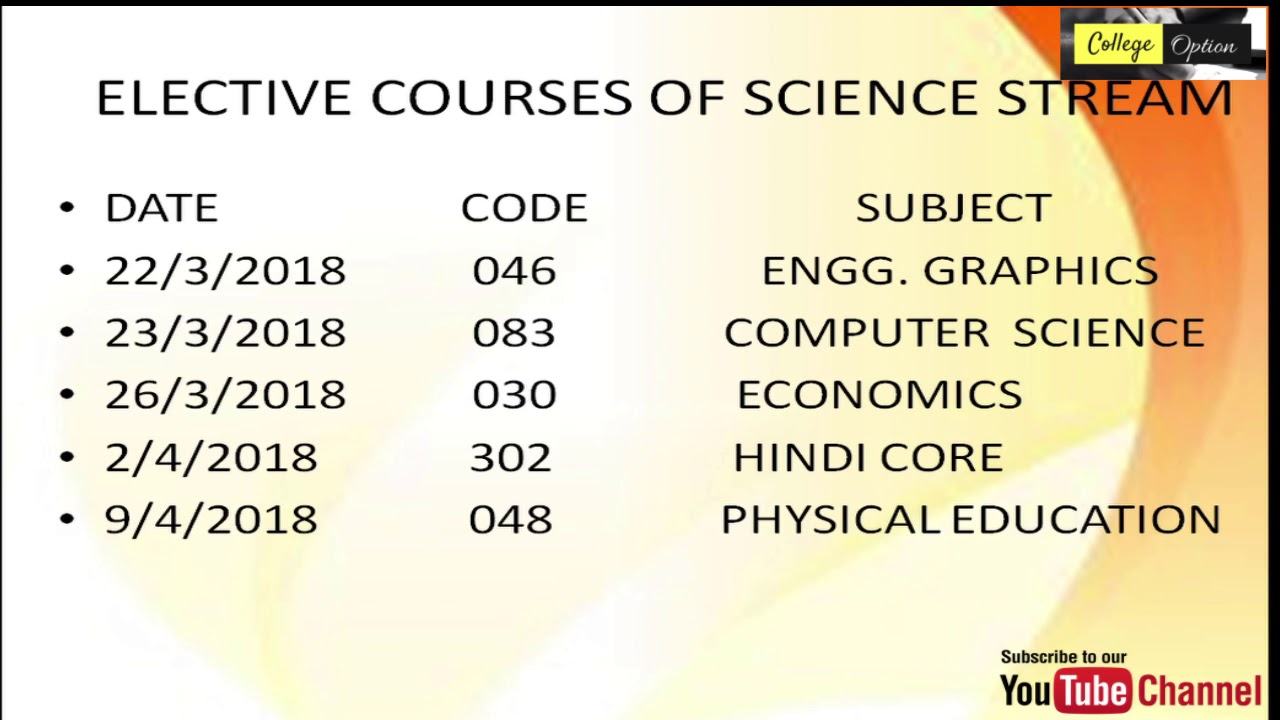 12th board Exam Timetable | Datesheet separate for Science, Commerce and  Arts - College Option