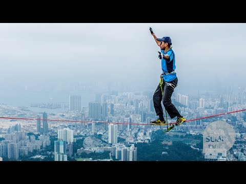 Slacklining on Hong Kong's iconic Lion Rock