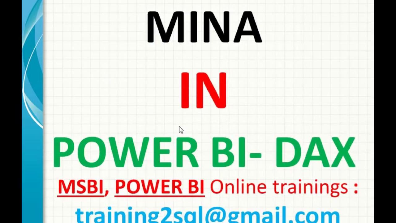 DAX functions | MINA in Power BI | mina in dax | min vs mina in dax