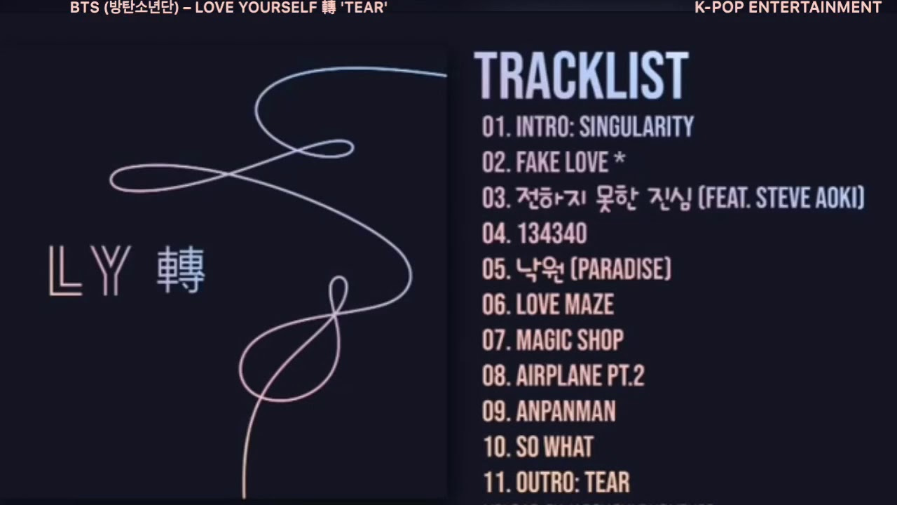 [FULL ALBUM] BTS (방탄소년단) – LOVE YOURSELF 轉 'TEAR' — TRACKLIST