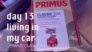 COOKING RAMEN w/ PRIMUS BACKPACKING STOVE | 13 days living in my car