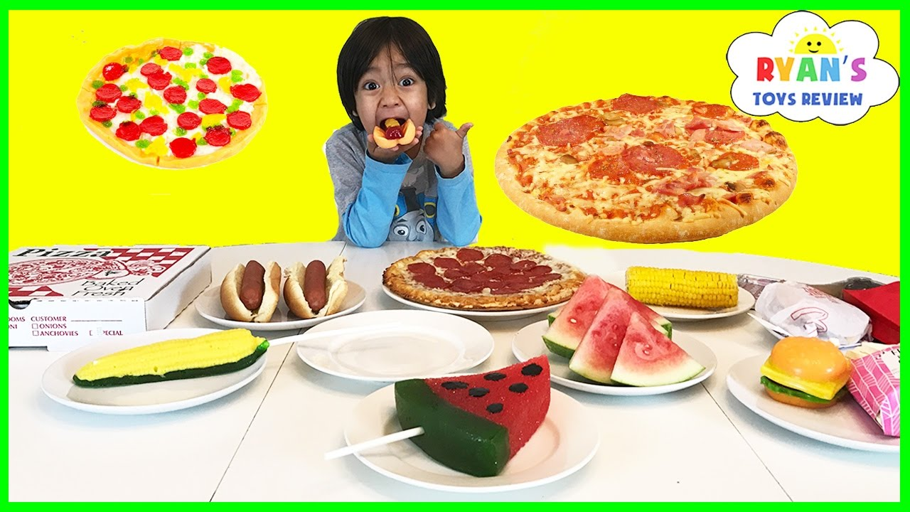 GUMMY FOOD VS REAL CHALLENGE Taste Test Kid Fun Giant Candy Review Ryan ToysReview