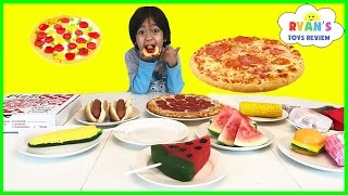 GUMMY FOOD VS REAL FOOD CHALLENGE taste test! Kid Fun giant candy review Ryan ToysReview