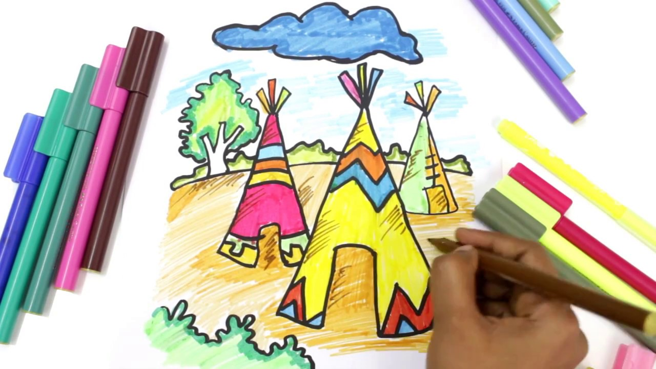 Drawing and Coloring a Tent House for Kids Coloring pages for