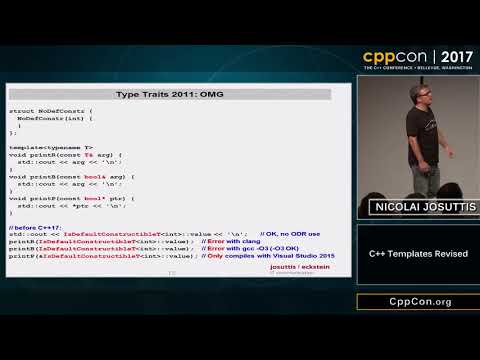 "CppCon 2017: Nicolai Josuttis ""C++ Templates Revised"""