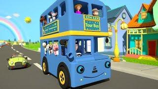 Azul Ruedas En El Autobús | Kindergarten Rima de cuarto de niños del Color de la Canción | dibujos animados para los Niños | Poco la casa en el árbol