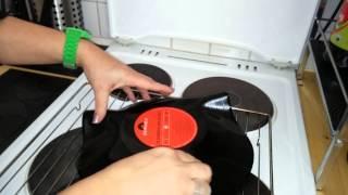 eine Schüssel aus einer Schallplatte basteln